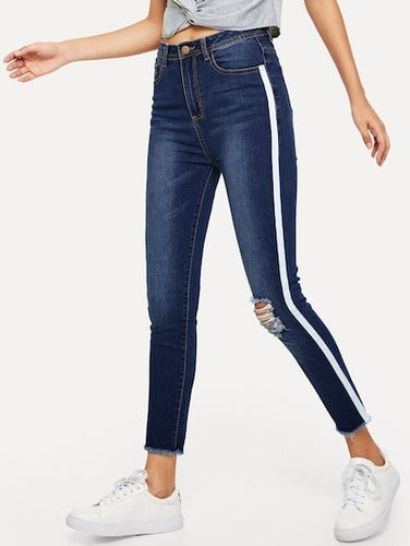 SIDE STRIPE DETAIL RIPPED SKINNY JEANS
