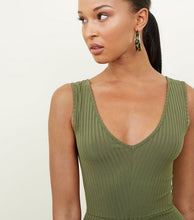 SLEEVELESS VNECK RIBBED DETAIL MIDI CATSUIT