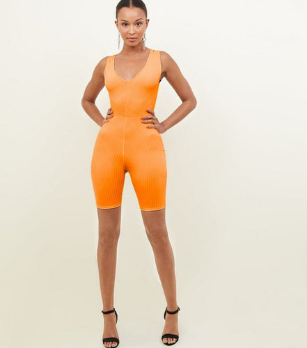 SLEEVELESS VNECK RIBBED DETAIL CATSUIT