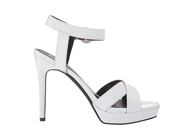 PATENT LEATHER ANKLE STRAP PLATFORM SANDALS