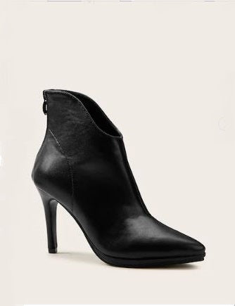 STILETTO HEELED POINTED TOE BACK-ZIP ANKLE BOOTIES