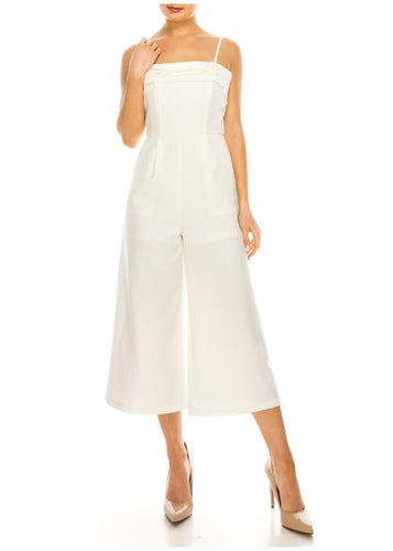 T-STRAP PLEAT DETAILED SHEER OVERLAY MIDI JUMPSUIT