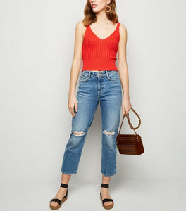VNECK RIBBED KNIT CAMI TEE