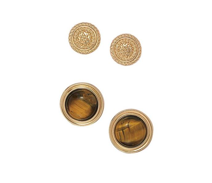 TIGER EYE STUD EARRING DUO