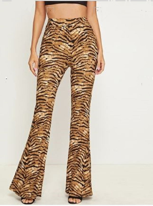 TIGER STRIPE BELL BOTTOM PANTS