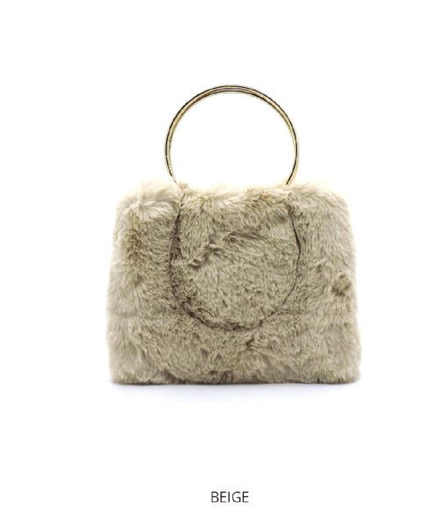MULTI-COMPARTMENT VEGAN FUR HAND WARMER HANDBAG