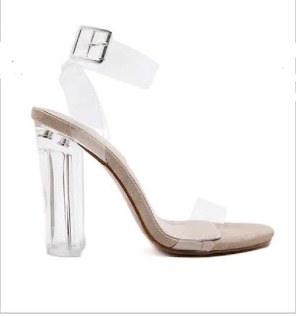 TRANSLUCENT BLOCK HEELED ANKLE STRAP NAKED SANDALS