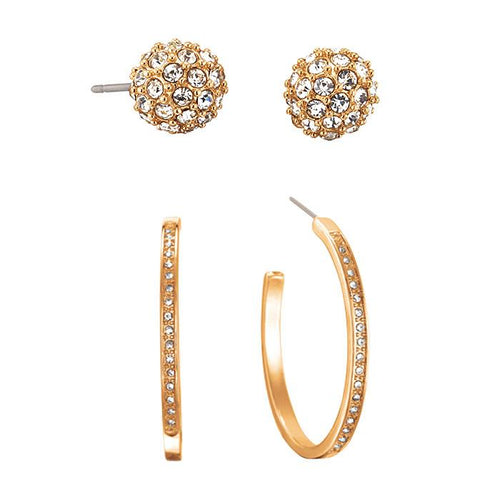TWO PACK HOOP AND STUD EARRINGS SET