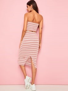 TWO PIECE STRIPED TUBE TOP SKIRT SET