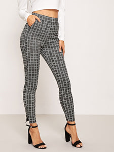 TWO POCKET CHECKERED PULL-ON SKINNY PANTS