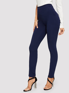 TWO POCKET MID-WAIST SKINNY PANTS