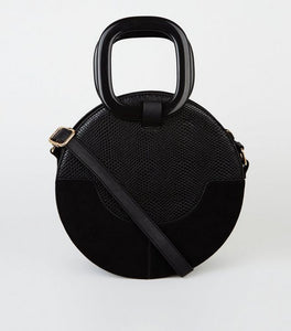 VEGAN SUEDE CROC ROUND CROSSBODY BAG