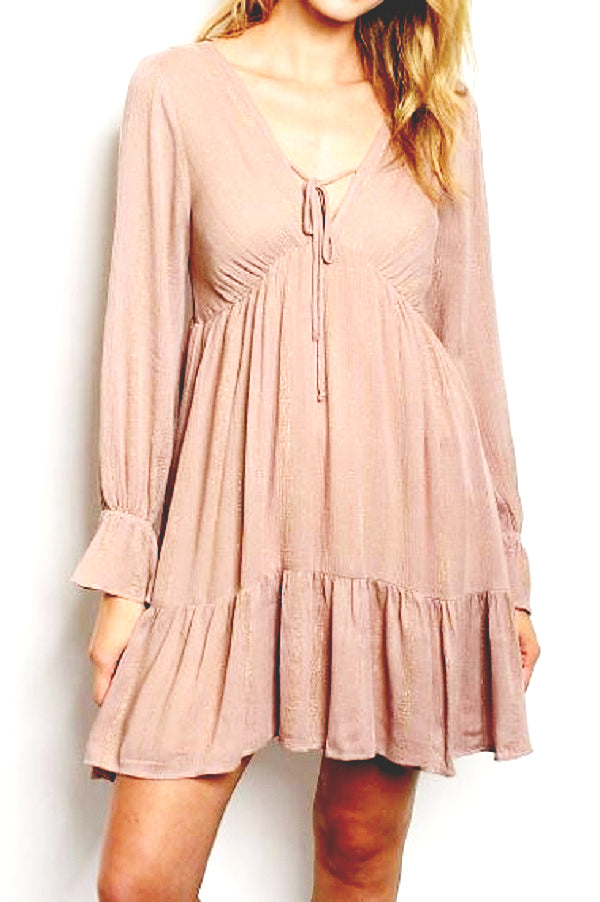 VNECK RUFFLE DETAILED BABYDOLL DRESS