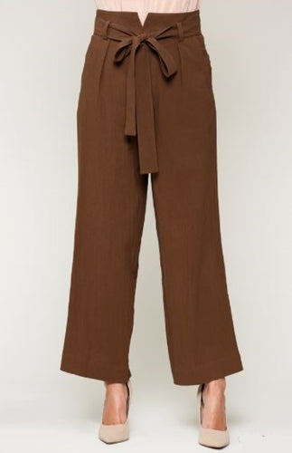 WIDE LEG PAPER BAG WAIST PANTS