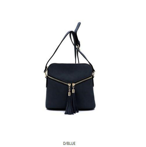 ZIPPER FRONT TASSEL DETAILED CROSSBODY BAG