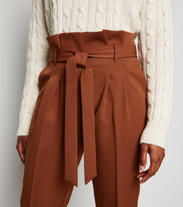 PAPER BAG WAIST TAPERED PANTS
