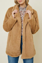 Load image into Gallery viewer, Tan Faux Fur Coat