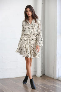 Cream & Black Dotted Dress