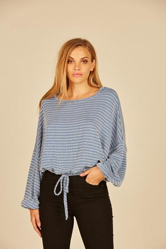 Blue Drawstring Top