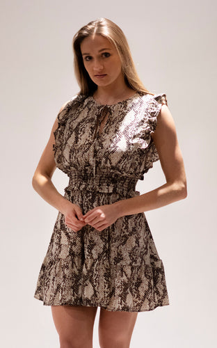 Smocked Snakeskin Print Dress