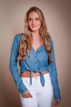 Load image into Gallery viewer, Denim Tie Front Blouse