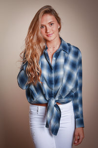 Blue Plaid Tie Front Blouse