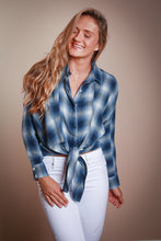 Load image into Gallery viewer, Blue Plaid Tie Front Blouse
