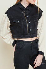 Load image into Gallery viewer, Knit sleeve cropped denim jacket