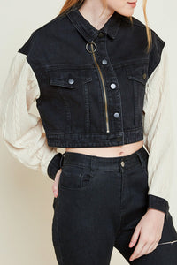 Knit sleeve cropped denim jacket