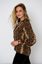 Load image into Gallery viewer, Brown & Black Animal Print Blouse