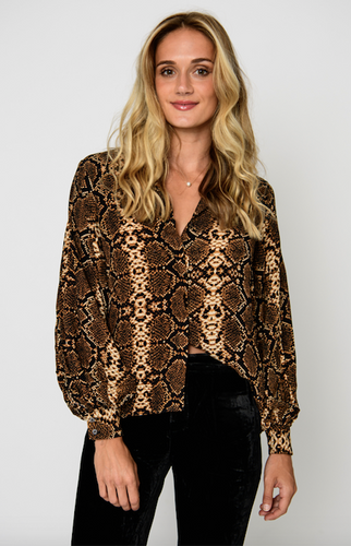 Brown & Black Animal Print Blouse