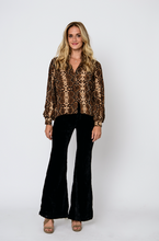 Load image into Gallery viewer, Black Velvet Bell Bottoms