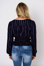 Load image into Gallery viewer, Navy Smocked Blouse