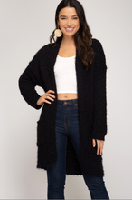 Load image into Gallery viewer, Black Fuzzy Cardigan