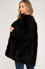 Load image into Gallery viewer, Black Faux Fur Jacket