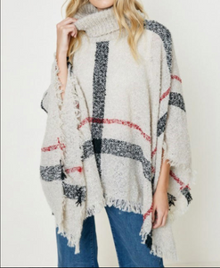 Plaid Turtleneck Poncho