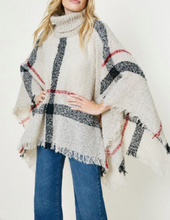 Load image into Gallery viewer, Plaid Turtleneck Poncho