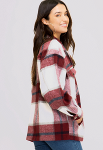 Wine Flannel Shacket