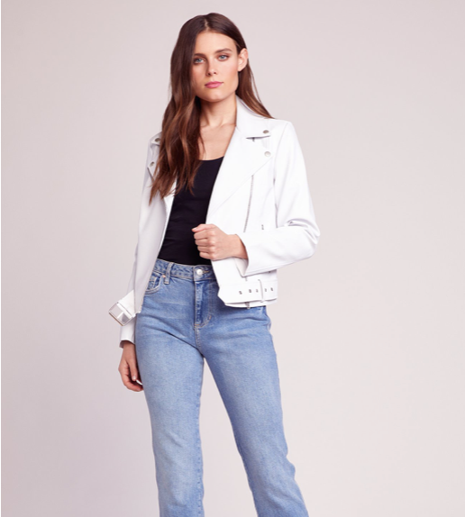 Vegan white leather jacket