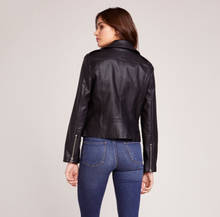 Load image into Gallery viewer, Vegan black leather jacket