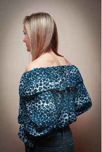 Blue Animal Print Off The Shoulder Top