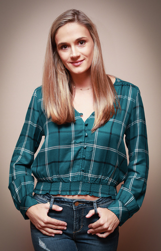 Plaid Ruched Blouse