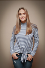 Load image into Gallery viewer, Grey & White Turtleneck