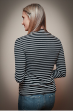 Load image into Gallery viewer, Striped Mock Neck Top