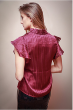 Load image into Gallery viewer, Wine Keyhole Blouse
