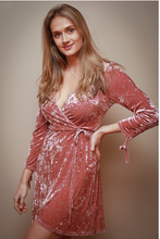 Load image into Gallery viewer, Blush Velvet Wrap Dress