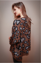 Load image into Gallery viewer, Oversized Mocha Animal Print Sweater