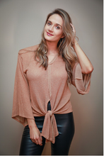 Load image into Gallery viewer, Camel Tie Front Top