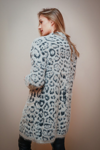 Grey Animal Print Cardigan