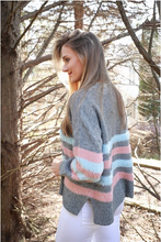 Load image into Gallery viewer, Gray Fuzzy Multicolor Sweater